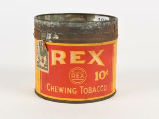 REX 10 CENT CHEWING TOBACCO CUT OFF CANISTER