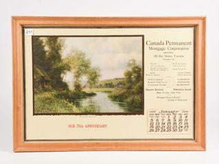 1930 CANADA PERMANENT MORTGAGE 75TH ANN  CAlENDAR