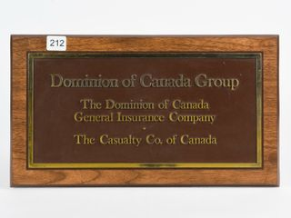 DOMINION OF CANADA GROUP S S PlASTIC SIGN