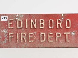 EDINBORO FIRE DEPT  CAST EMBOSSED SIGN PlATE