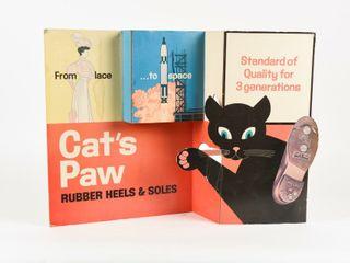 CAT S PAW RUBBER HEElS   SOlES 3 D CARDBOARD ADV