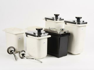 GROUPING OF 6 VINTAGE SODA SHOP CANISTERS