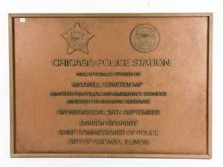 VINTAGE CHICAGO POlICE STATION BUIlDING PlAQUE