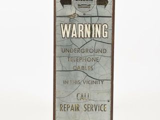 RARE WARNING UNDERGROUND CABlES S S METAl SIGN