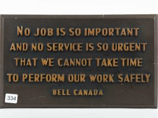 BEll CANADA S S EMBOSSED PlASTIC SAFETY SIGN