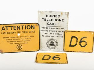 lOT OF 4 UNDERGROUND BURIED CABlE SIGNS