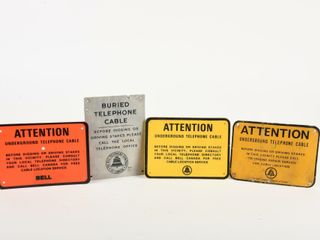 lOT OF 4 BEll UNDERGROUND BURIED CABlE SIGNS
