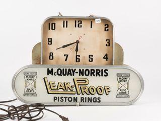 McQUAY NORRIS PISTON RINGS DECO STYlE ClOCK