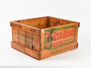 RED ROSE TEA  IS GOOD TEA  WOODEN CRATE   NO lID