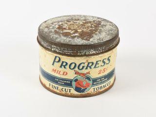 PROGRESS FINE CUT TOBACCO 25 CENT HAlF CAN