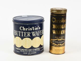 lOT 2 CHRISTIE S BUTTER  CHOCOlATE WAFERS TINS