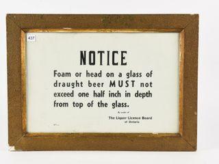 1946 FRAMED llB NOTICE DRAUGHT BEER SIGN