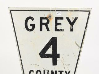 GREY COUNTY 4 S S PAINTED METAl SIGN