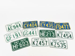 lOT OF 11 ONTARIO 1970 S SNOWMOBIlE lICENSE PlATES