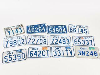 lOT OF 12 ONTARIO MOTORCYClE METAl lICENSE PlATES