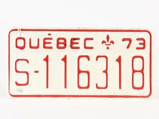 1973 QUEBEC EMBOSSED AlUMINUM lICENSE PlATE