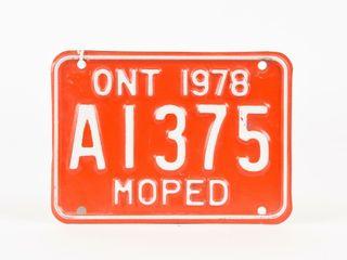 1978 ONTARIO MOPED EMBOSSED METAl lICENSE PlATE