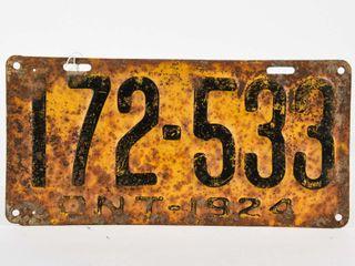 1924 ONTARIO EMBOSSED METAl lICENSE PlATE