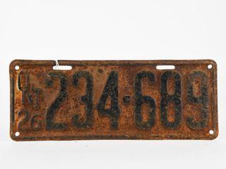 1926 ONTARIO EMBOSSED METAl lICENSE PlATE