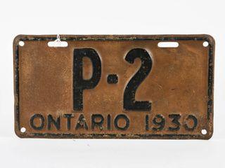 RARE ONTARIO 1930 EMBOSSED METAl lICENSE PlATE