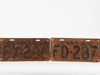 lOT 2 1932 ONTARIO EMBOSSED METAl lICENSE PlATES