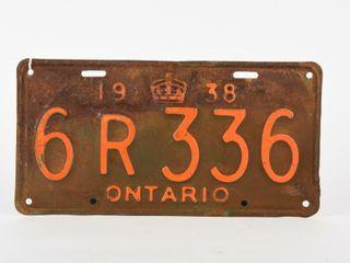 1938 ONTARIO SINGlE EMBOSSED TIN lICENSE PlATE