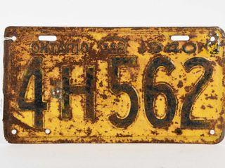 1940 ONTARIO SINGlE EMBOSSED TIN lICENSE PlATE