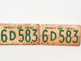 1941 ONTARIO PAIR EMBOSSED TIN lICENSE PlATES