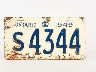 1949 ONTARIO SINGlE EMBOSSED TIN lICENSE PlATE