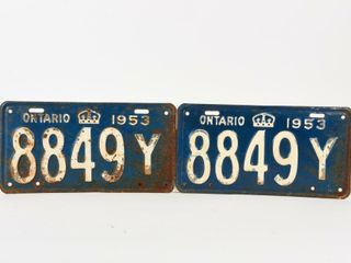 1953 ONTARIO PAIR EMBOSSED TIN lICENSE PlATES