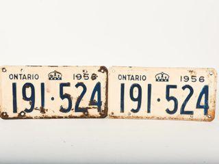 1956 ONTARIO PAIR EMBOSSED TIN lICENSE PlATES