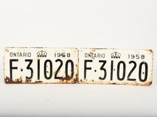1958 ONTARIO PAIR EMBOSSED TIN FARM lICENSE PlATES