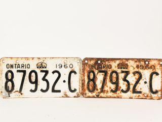 1960 ONTARIO PAIR EMBOSSED TIN lICENSE PlATES
