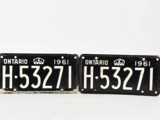 1961 ONTARIO PAIR EMBOSSED TIN lICENSE PlATES