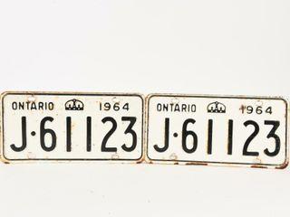 1964 ONTARIO PAIR EMBOSSED TIN lICENSE PlATES