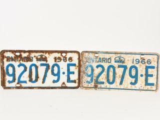1966 ONTARIO PAIR EMBOSSED TIN lICENSE PlATES