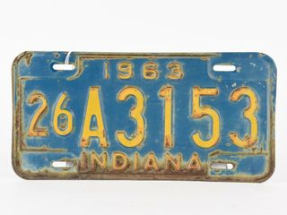 1963 INDIANA SINGlE EMBOSSED TIN lICENSE PlATE