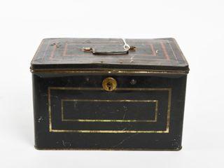 VINTAGE HARRY W  DEFOREST TIN TEA CASH BOX