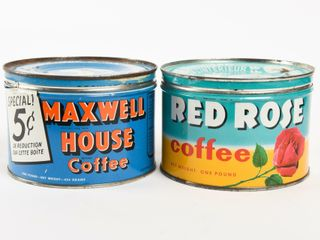 lOT OF 2 RED ROSE   MAXWEll HOUSE lB  COFFEE CANS