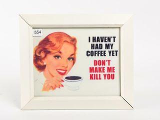 FRAMED COFFE ADVERTISING SIGN   NEW