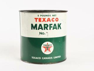 TEXACO MARKFAK 5 POUNDS NET NO  1 GREASE CAN  FUll