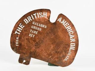 RARE BRITISH AMERICAN OIl CO  lTD COPPER STENCIl