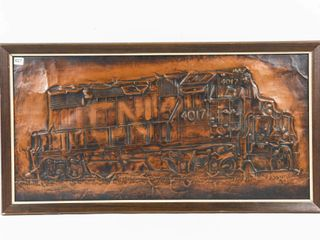 CN lOCOMOTIVE 4017 HAND CRAFTED COPPER PICTURE