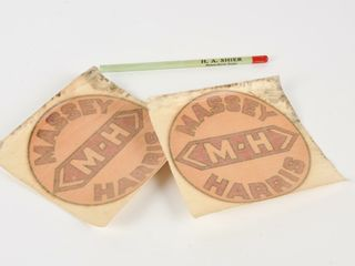 GROUPING OF 3 MASSEY HARRIS DECAlS   PENCIl