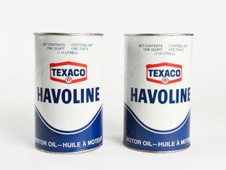 lOT OF 2 TEXACO HAVOlINE QUART FIBRE CANS   FUll