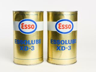 lOT OF 2 ESSO ESSOlUBE XD 3 MOTOR OIl CANS FUll