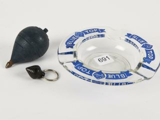 BlUE TOP BEER GlASS ASHTRAY