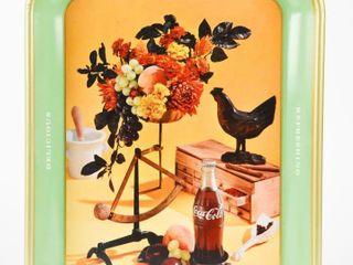 1957 DRINK COCA COlA DElICIOUS ROOSTER METAl TRAY