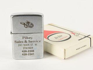 PIlKEY SAlES   SERVICE FlIP TOP lIGHTER  BOX   NOS