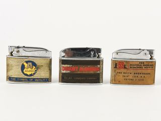 lOT OF 3 BUIlDING PRODUCTS ADVERTISING lIGHTERS